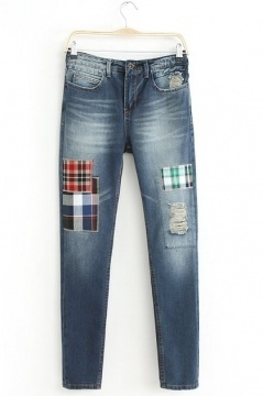 Bleached Distressed Jeans with Plaid Patch