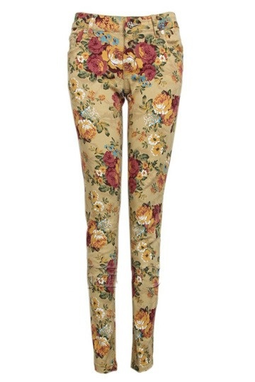 Retro Flower Print Pants In Yellow