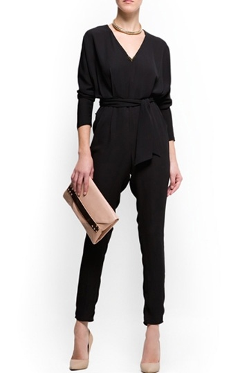 V-neck Chiffon Jumpsuit with Waistband in Black