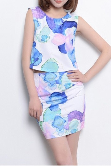 Elegant Flower Shading Sleeveless   Two-piece Suit