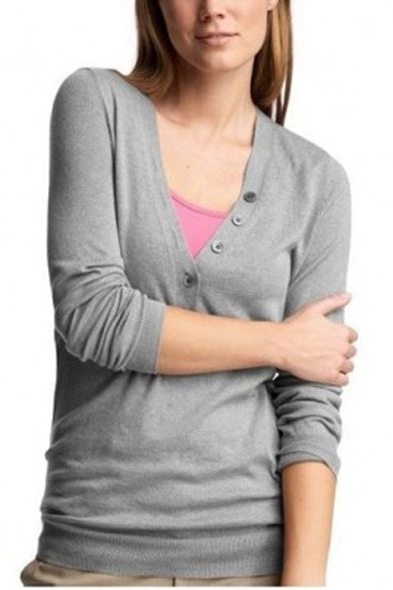 Simple V-neck Long Sleeves Button Cardigan