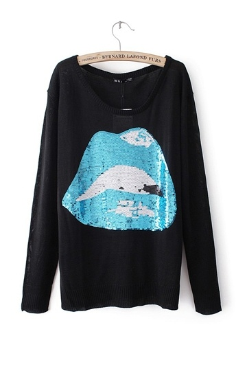 Sequins Lip Fashion Sweater