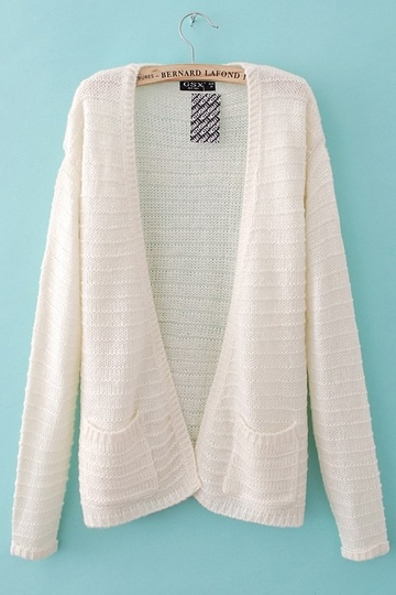 Loose Style White Cardigan With Pocket