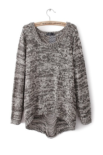 Fashion Back Hole Knit Sweater