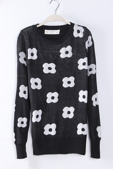 Slim Fit Flower Pattern Sweater