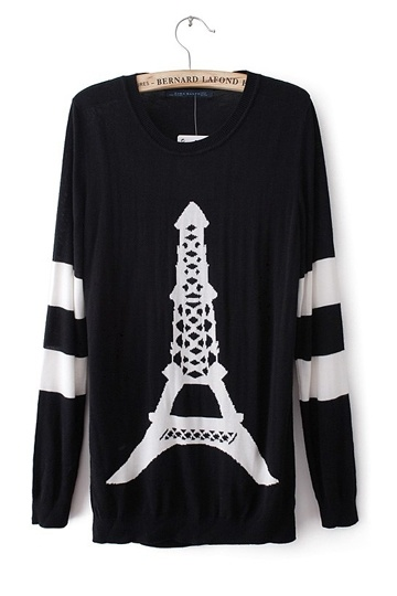 Eiffel Tower Pattern Long Sweater