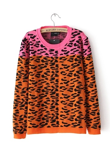 Stylish Leopard Color Block Sweater