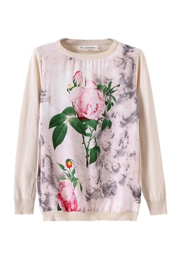 Leaves and Flower Print Sweater