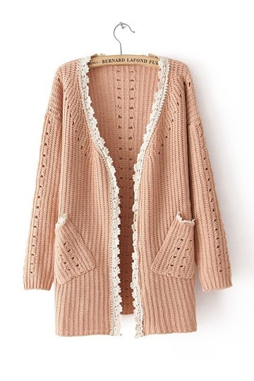 Long Sleeves Lace Knitted Cardigan