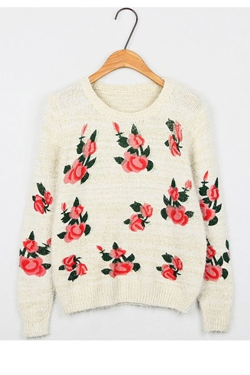 Charming Flower Print Long-Sleeved Sweater