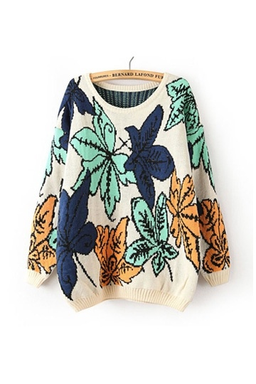 Large Leaf Pattern Loose Sweater