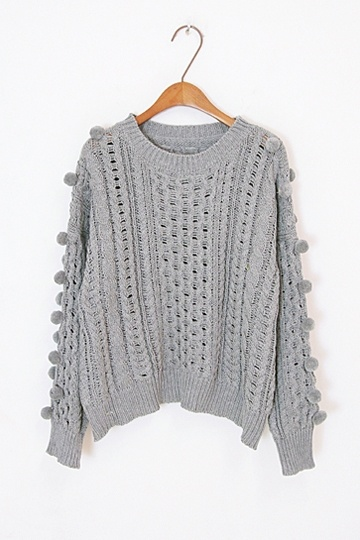 Cute Hair Ball Twist Knit Sweater