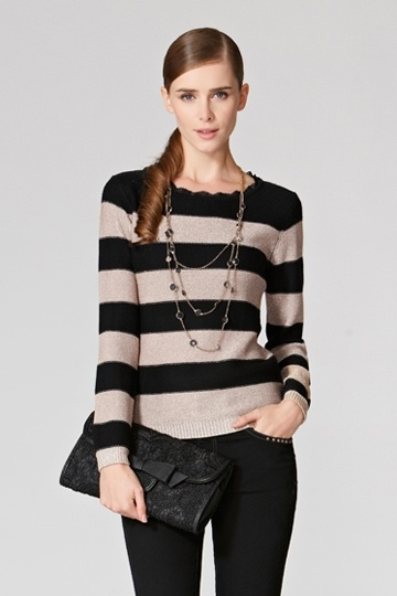 Stylish Color Contrast Striped Sweater