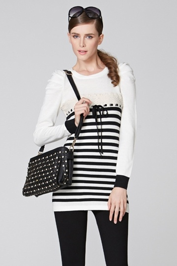 Puff Sleeves Stripe Contrast Sweater