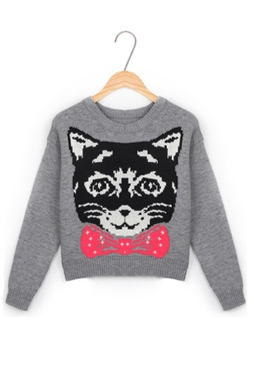 Elegant Cat Face Pattern Sweater