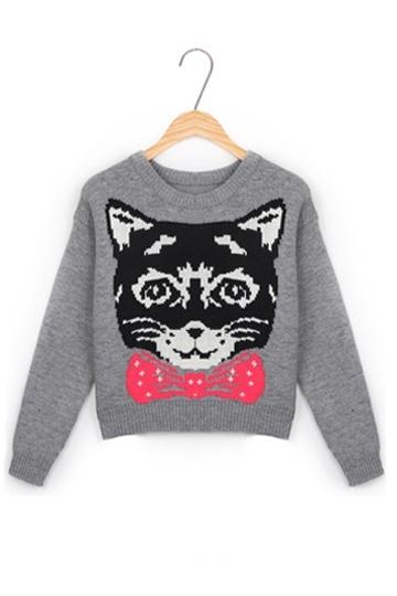Elegant Cat Face Pattern Sweater
