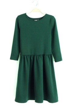 Pure Color Frilly Dress