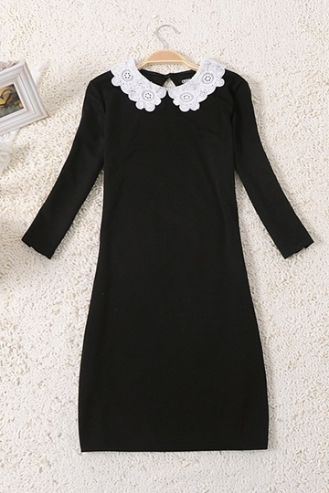 Classic Preepy Look Dress with Lace Collar