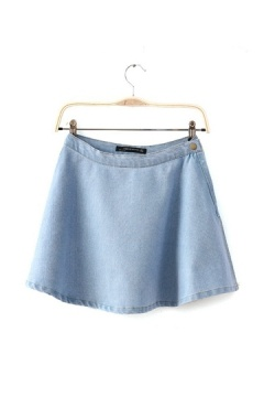 Simple Design Denim Mini Skirt with Button