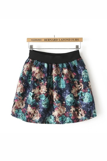 Vintage Flower Pattern Mini Skirt