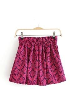 Vintige Pattern Mini Pleated Skirt