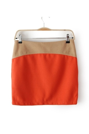 Color Stitching Skirt with Zipper