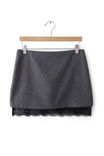 Stylish Mini Skirt with Lace Hem