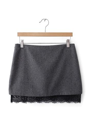 Stylish Mini Skirt with Lace Hem