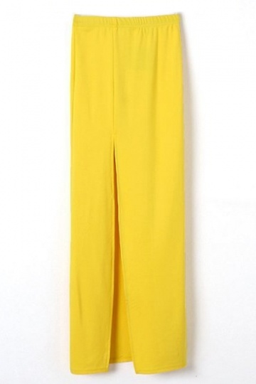 Split Front Pencil Skirt in Yellow