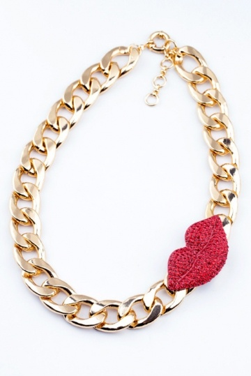 Cute Rhinestone Red Lip Necklace