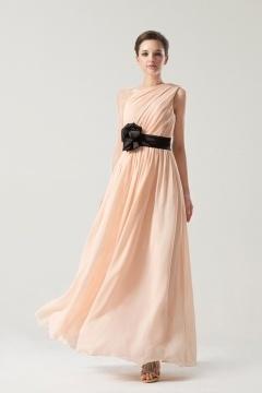 Simple One shoulder Empire Sash Ruching Long Formal Bridesmaid dress