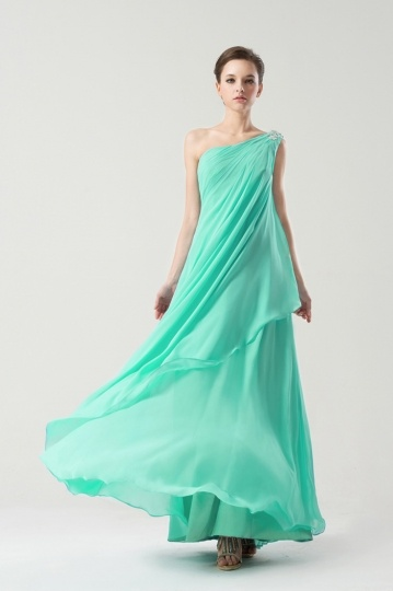 Ein Schulter Perlen langes A-Linie Chiffon Brautjungfernkleid Persun