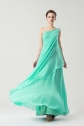 Green Modern One shoulder Empire Pleats Long Bridesmaid Dress