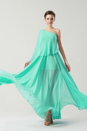 Mint green Draping Chiffon Sheer One shoulder Long Bridesmaid Dress Persun