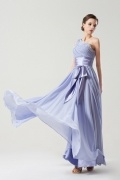 One shoulder Simple Empire Sash Purple tone Long Formal Bridesmaid dress