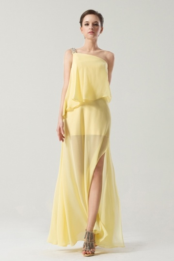 Dressesmall One shoulder Yellow tone Long sleeve Split front Prom Dress