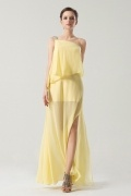 One Shoulder Yellow Long sleeve Split front Prom Dress