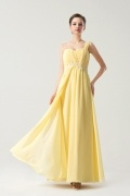 Pale Yellow One shoulder Long Formal Bridesmaid Dress with Ruching