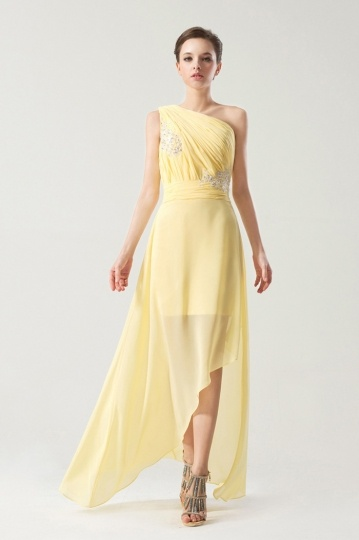 Dressesmall One shoulder Yellow tone Natural waist Ruching Long formal dress