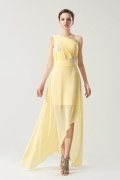 One shoulder Yellow tone Natural waist Ruching Long formal dress