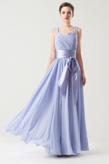 Dressesmall Straps Simple Empire Sash Purple tone Long Bridesmaid dress