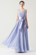 Straps Simple Empire Sash Purple tone Long Formal Bridesmaid dress