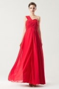 Red Simple One shoulder Empire Ruching Long Bridesmaid Dress