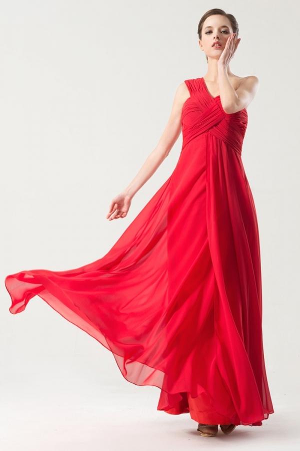 Robe rouge pour soirée asymétrique bustiter plissé empire mousseline