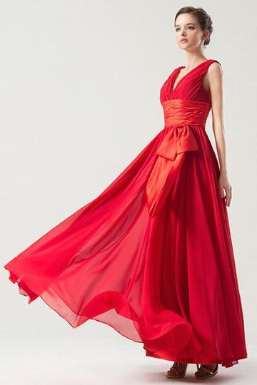 Hübsches A-Linie V Ausschnitt Band Schleife Brautjungfernkleid Persun