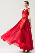 Hübsches V Ausschnitt Band Schleife Brautjungfernkleid