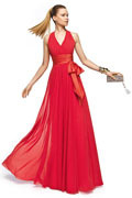Sleeveless Red Empire Ruching Sash Long Formal Bridesmaid Dress