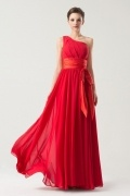 One Shoulder Red Sleeveless Empire Pleats Long Bridesmaid Dress