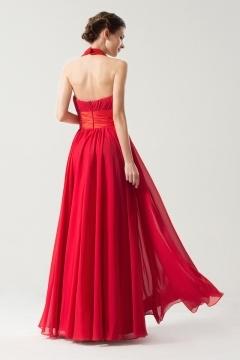 Robe rouge ceinturée à noeud papillon longue sol avec bretelle au cou