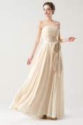 Strapless Champagne Empire Sash Ruching Long Formal Bridesmaid Dress
